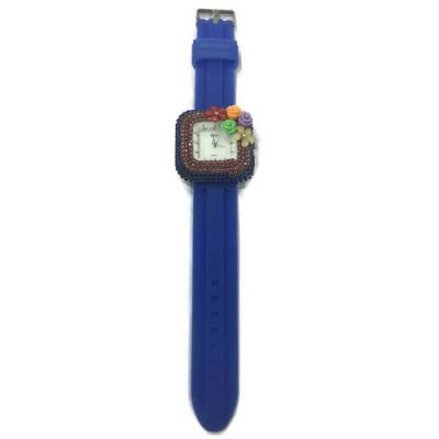 Flower Stone Silicone Square Watch (Royal Blue)