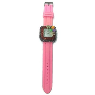 Flower Stone Silicone Square Watch (Pink)