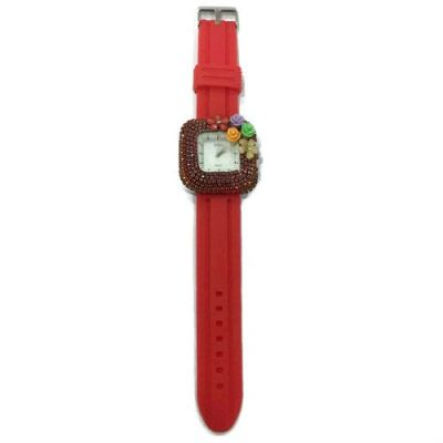 Flower Stone Silicone Square Watch (Red)