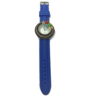 Flower Stone Silicone Circle Watch (Blue)