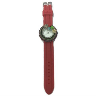 Flower Stone Silicone Circle Watch (Red)