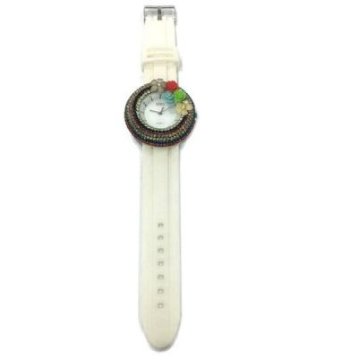 Flower Stone Silicone Circle Watch (White)