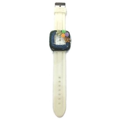 Flower Stone Silicone Square Watch (Off White II)
