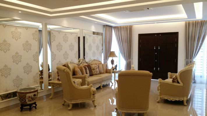 Formal Living Hall feature wall design