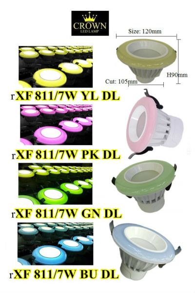 CROWN LED COLOR 7W D105MM ROUND DOWNLIGHT