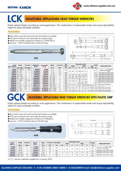 Kanon LCK Adjustable, Replaceable Head Torque Wrenches And GCK Adjustable, Replaceable Head Torque Wrenches With Plastic Grip