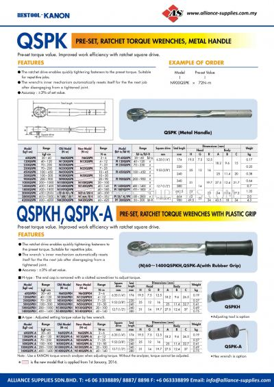Kanon QSPK Pre-Set, Ratchet Torque Wrenches, Metal Handle And QSPKH, QSPK-A Pre-Set, Ratchet Torque Wrenches With Plastic Grip