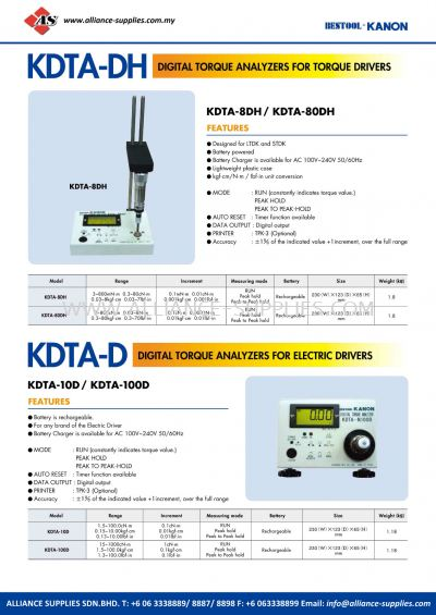 Kanon KDTA-DH Digital Torque Analyzers For Torque Drivers And KDTA-D Digital Torque Analyzers For Electric Drivers