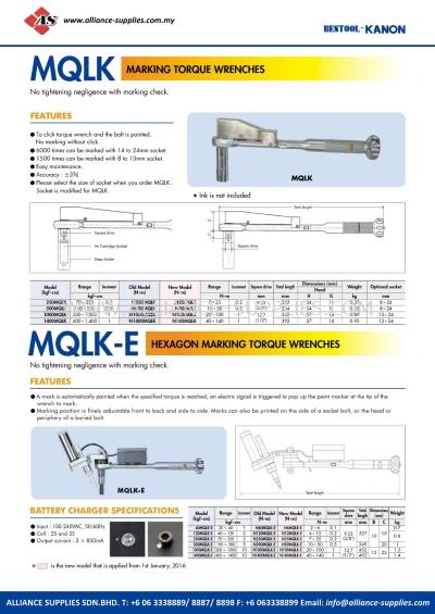 Kanon MQLK Marking Torque Wrenches And MQLK-E Hexagon Marking Torque Wrenches