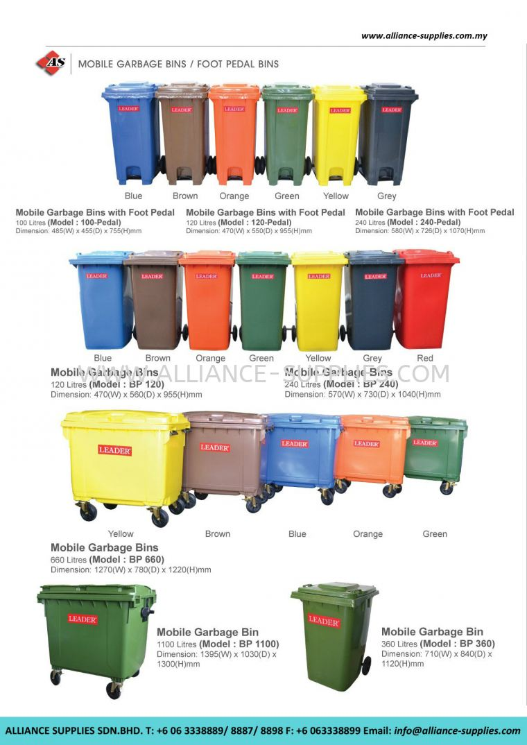 Mobile Garbage Bins/ Foot Pedal Bins 23.05 MGB Bins, Hot Dipped Galvanized MGB Bins And Leach Bins 23.CLEANING/ JANITORIAL/ RECYCLE BINS