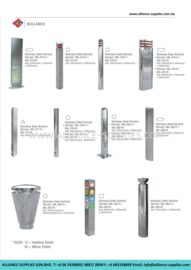 Stainless Steel Bollards 23 12 S/S Bollards 23 CLEANING