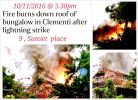 FIRE BURNS DOWN ROOF OF BUNGALOW IN CLEMENTI AFTER LIGHTNING STRIKE (10/11/16)