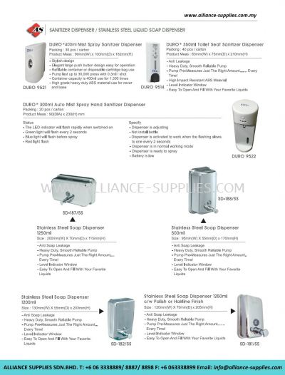 Sanitizer Dispenser/ Stainless Steel Liquid Soap Dispenser