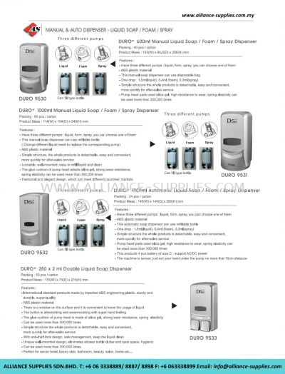Manual & Auto Dispenser - Liquid Soap/ Foam/ Spray
