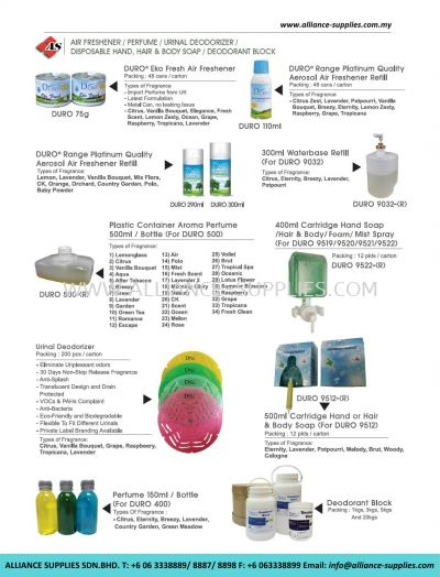 Air Freshener/ Perfume/ Urinal Deodorizer/ Disposable Hand, Hair And Body Soap/ Deodorant Block