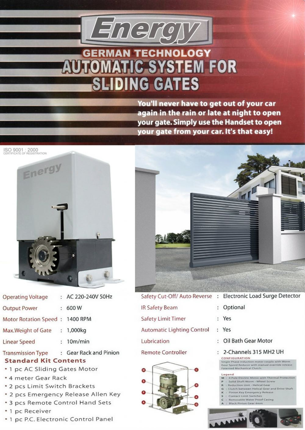 Energy AC type Sliding Motor Auto Gate System Selangor, Malaysia, Kuala Lumpur (KL), Subang, Puchong Supplier, Supply, Supplies, Installation | The One Control