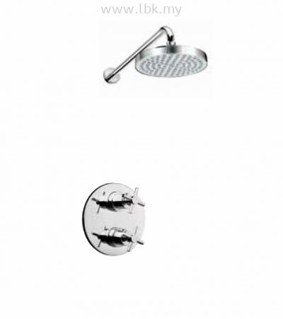 PREMTEX CROSS HANDLE CHROME PLATED BRASS CONCEALED THERMOSTATIC SHOWER SET