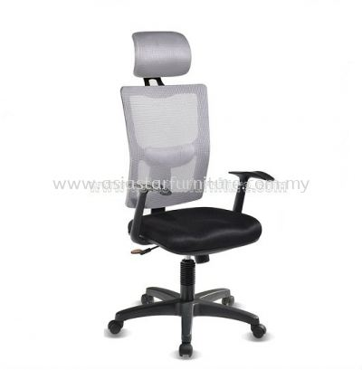MELBY HIGH BACK MESH CHAIR WITH PP BASE & BACK SUPPORT-AMB-P1