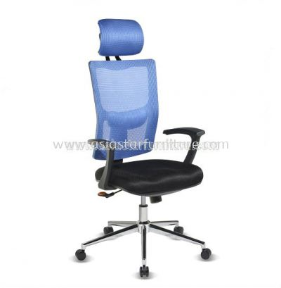 MELBY HIGH BACK MESH CHAIR WITH CHROME BASE & BACK SUPPORT-AMB-C1