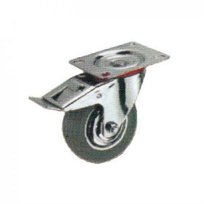 Swivel Caster Total Break with Grey Rubber Wheel