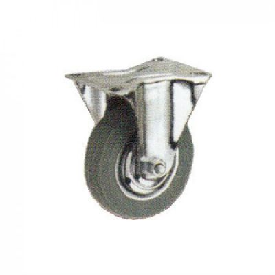 Rigid Caster with Grey Rubber Wheel