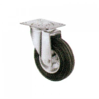 Swivel Castor c/w Steel Centre Rubber Wheels 100 series - Swivel Rubber