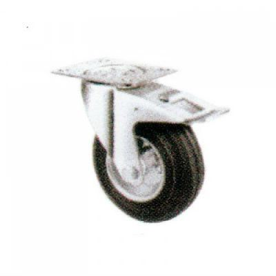 Swivel Castor Total Brake c/w Steel Centre Rubber Wheels 100 series - Swivel Total Brake Rubber