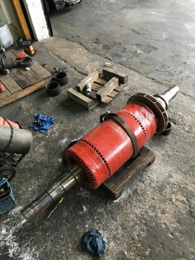 Worn out coupling journal c/w keyway repaired by thermal spray