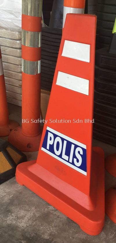 Triangle Safety Cone with POLIS / AWAS Wording