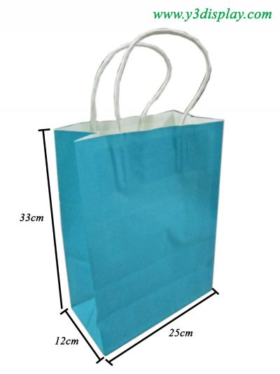 12612-25x33x12cm Paper Bag-Blue-12pcs
