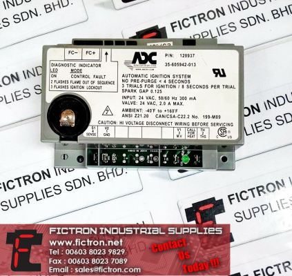 128937 35-605942-013 ADC Automatic Ignition System Amercian Dryer Corp. Supply & Repair Malaysia Singapore Thailand Indonesia Philippines Vietnam Europe & USA