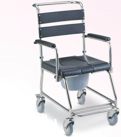 STAINLESS STEEL COMMODE CUM SHOWER CHAIR, FLIP UP ARMREST, HH1010