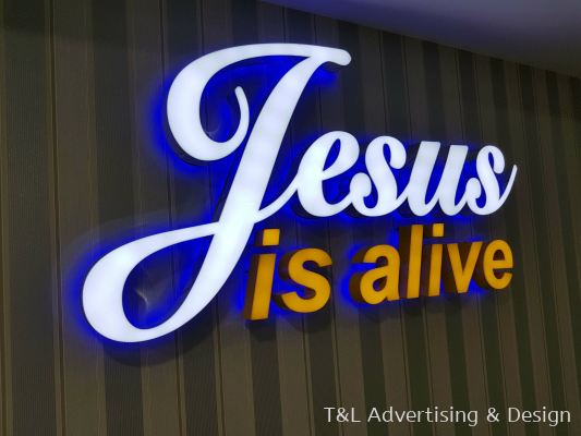 Jesus is alive 3D LED box up - Front lit colour sticker & Back lit blue lighting