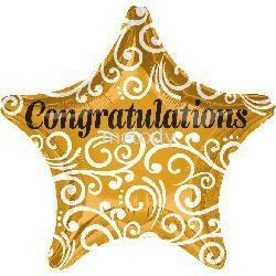 "Foil 18"" Anagram Gold star Congrat"