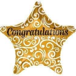 "Foil 18"" Anagram Gold star Congrat"
