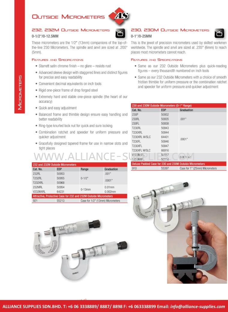 STARRETT Outside Micrometers 5.01 Micrometers 05.STARRETT