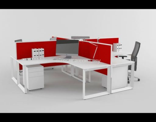 Island workstation in red and white colour