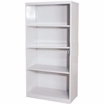 Full height open shelf steel cabinet