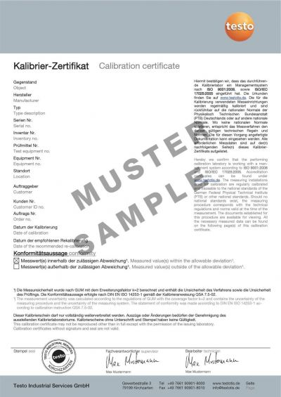 ISO calibration certificate/CO2
