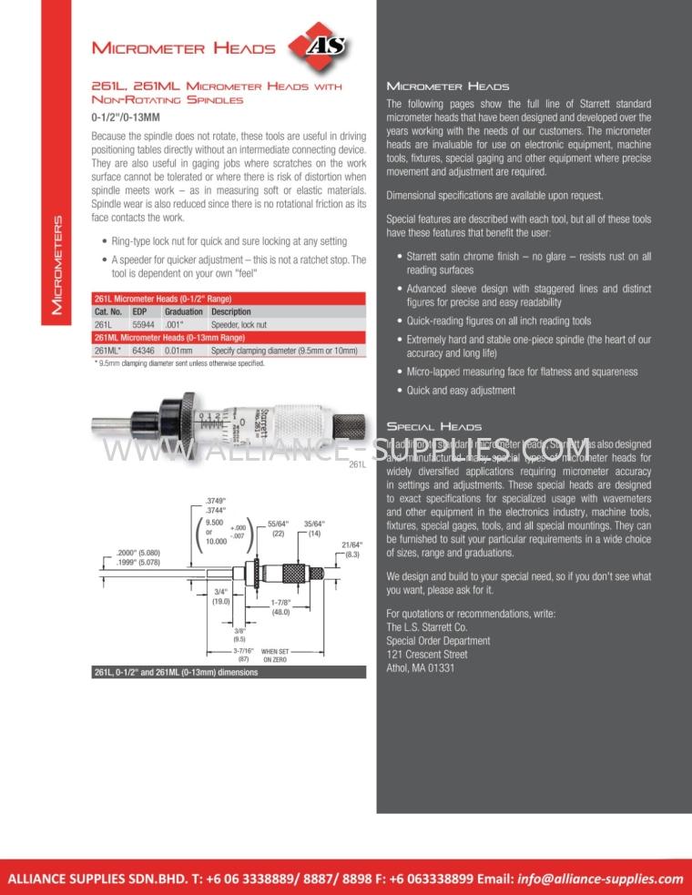 STARRETT Micrometer Heads 5.01 Micrometers 05.STARRETT
