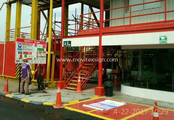 safety floor plan signboard for every entrance. Before u entering the factory to known where u are?., when fire outbreak u can Exit for life.