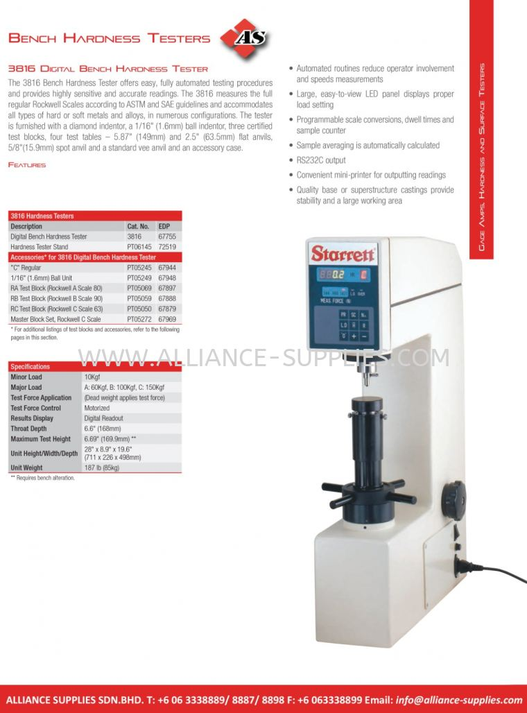 STARRETT Digital Bench Hardness Testers 5.09 Gage Amplifiers, Hardness Testers, Surface Testers 05.STARRETT