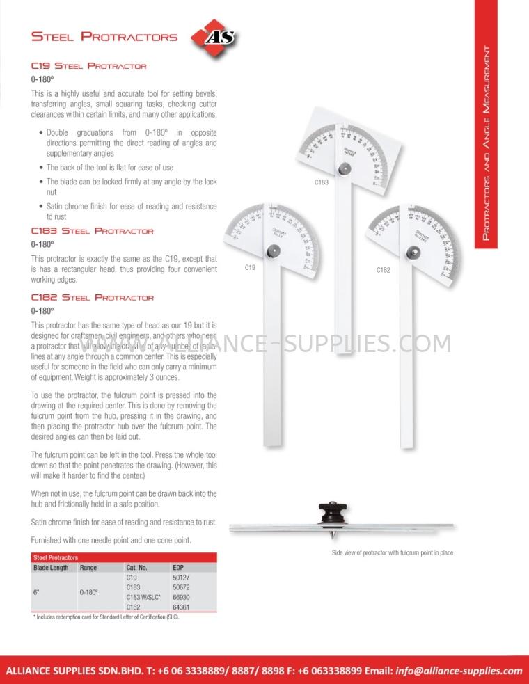 STARRETT Steel Protractors 5.13 Protractors, Angle Measurement 05.STARRETT