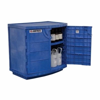 Polyethylene corrosives/acid cabinet, Cap. thirty-six 2-1/2 ltr bottles, 2 door