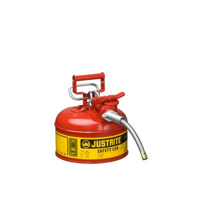 "Type II AccuFlow™ Steel Safety Can for flammables, 1 gal., S/S flame arrester, 5/8"" metal hose"