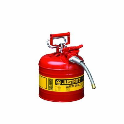 "Type II AccuFlow™ Steel Safety Can for flammables, 2 gal., S/S flame arrester, 5/8"" metal hose"