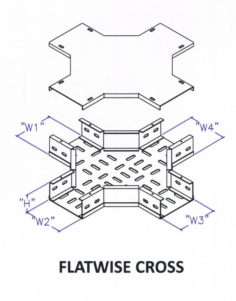 Though Type Perforated Cable Tray Fitting - Flatwise Cross Cable Tray Trunking c/w Cover Cable Support Systems