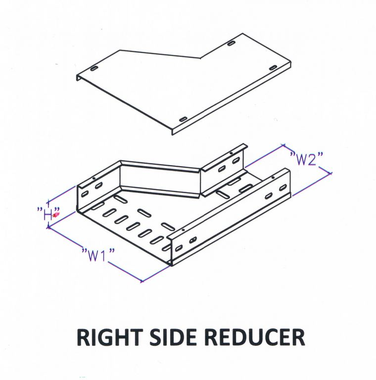Though Type Perforated Cable Tray Fitting - Right Side Reducer Cable Tray Trunking c/w Cover Cable Support Systems