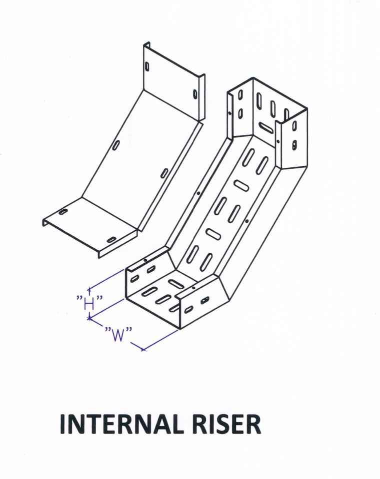 Though Type Perforated Cable Tray Fitting - Internal Riser Cable Tray Trunking c/w Cover Cable Support Systems