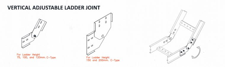 Ladder Accessories - Vertical Adjustable Ladder Joint Cable Ladder Cable Support Systems